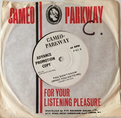 """Lot 3 - CHUBBY CHECKER - YOU DON'T KNOW (WHAT YOU DO TO ME) C/W TWO HEARTS MAKE ONE LOVE 7"""" (ORIGINAL UK DEMO - CAMEO-PARKWAY P 965)"""