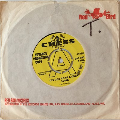 """Lot 6 - THE TIFFANIES - IT'S GOT TO BE A GREAT SONG 7"""" (ORIGINAL UK DEMO - CHESS CRS 8059)"""
