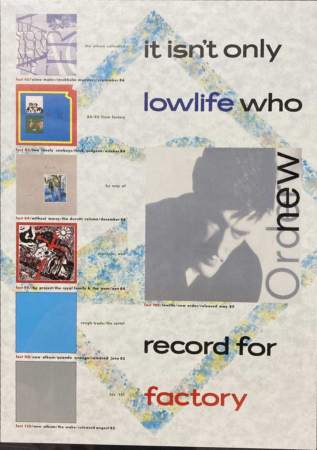 Lot 17 - 1985 FACTORY RECORDS PROMOTIONAL POSTER.