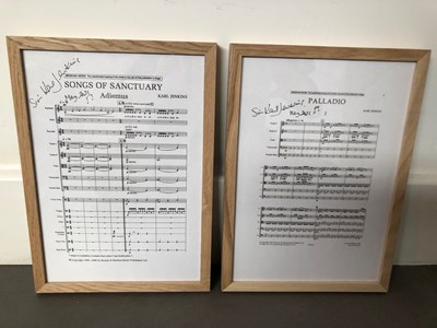 Lot 18 - KARL JENKINS – SIGNED ADIEMUS SCORE, SIGNED CONDUCTOR'S BATON, AND SIGNED, FRAMED TITLE PAGES OF ADIEMUS AND PALLADIO