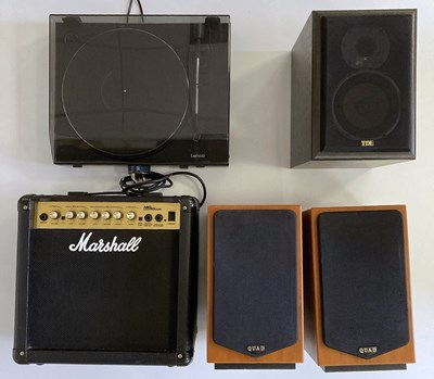Lot 6 - Marshall Guitar Amplifier, Speakers and Turntable.