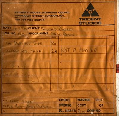 Lot 423 - DAVID BOWIE WITH MARC BOLAN ORIGINAL TRIDENT TAPE REEL - PRETTIEST STAR / LONDON BYE TA-TA.