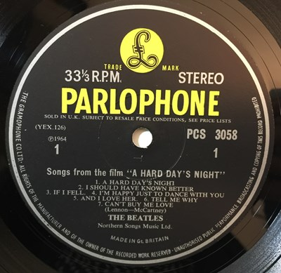 Lot 19 - THE BEATLES - A HARD DAY'S NIGHT LPs (1ST AND 2ND UK STEREO PRESSINGS - PCS 3058)