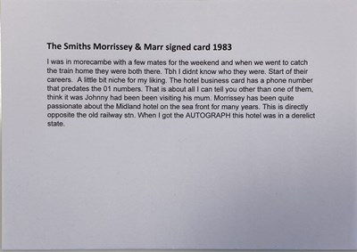 Lot 442 - MORRISSEY AND JOHNNY MARR SIGNED CARD