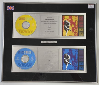 Lot 41 - GUNS AND ROSES USE YOUR ILLUSION DOUBLE PLATINUM SALES AWARD