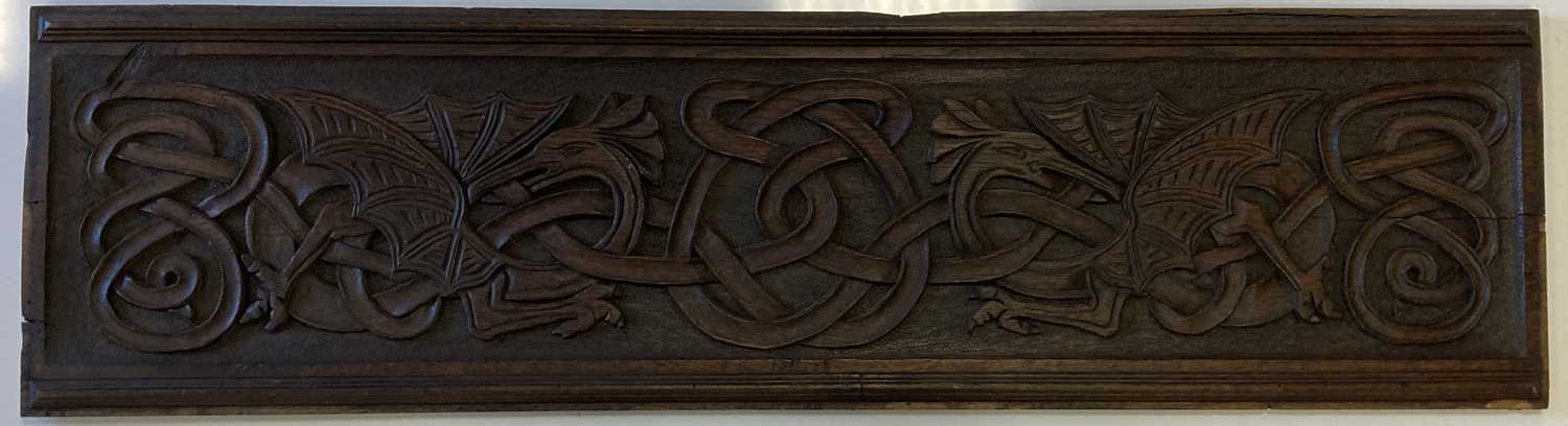 Lot 18 - CARVED WOODEN PANEL FEATURING DRAGONS