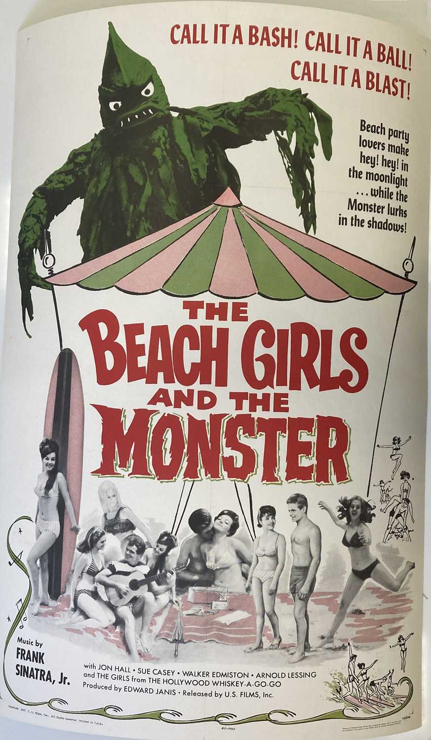 Lot 22 - BEACH GIRLS AND THE MONSTER US ONE SHEET POSTER