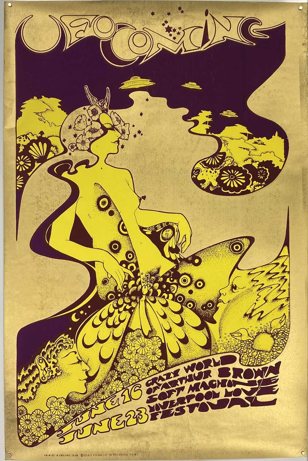 Lot 190 - HAPSHASH AND THE COLOURED COAT POSTER - UFO COMING - ARTHUR BROWN / SOFT MACHINE