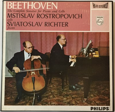 Lot 639 - Mstislav Rostropovich/Sviatoslav Richter - Beethoven The Complete Sonatas For Piano And Cello (Original UK Philips Stereo Box Set - SAL 3453/3454)