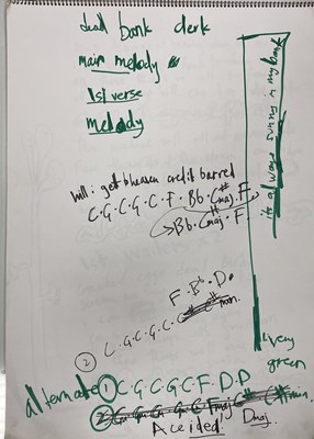 """Lot 461 - RADIOHEAD A2 SKETCHBOOK WITH WORKINGS AND LYRICS FROM THEIR REHEARSAL FOR """"THE BENDS"""" IN JANUARY 1994"""
