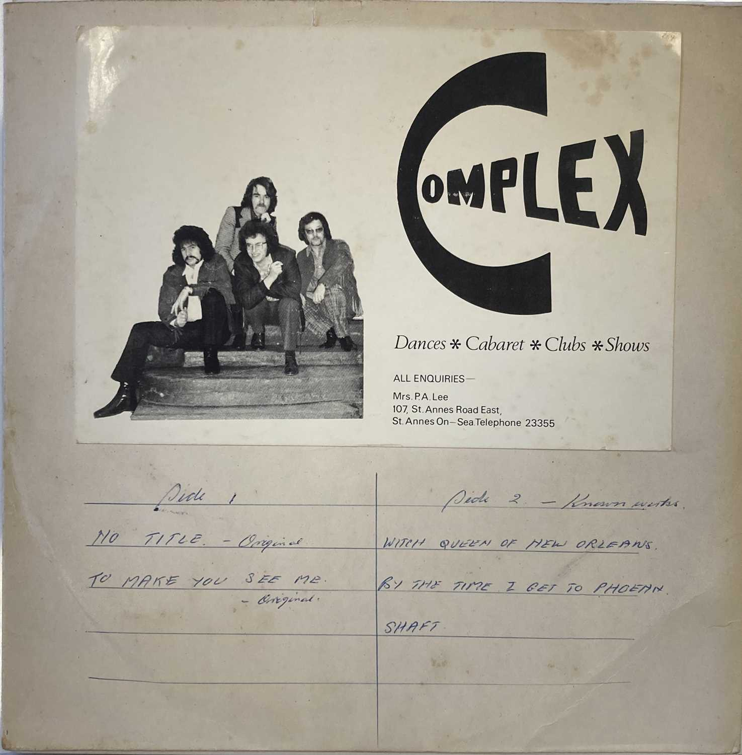 """Lot 309 - COMPLEX - 'UNTITLED' UNRELEASED 10"""" LP (CRAIGHALL RECORDING)"""
