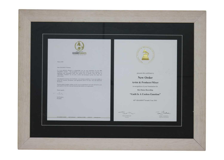 Lot 32 - NEW ORDER GRAMMY AWARD MEDAL, CERTIFICATE & LETTER