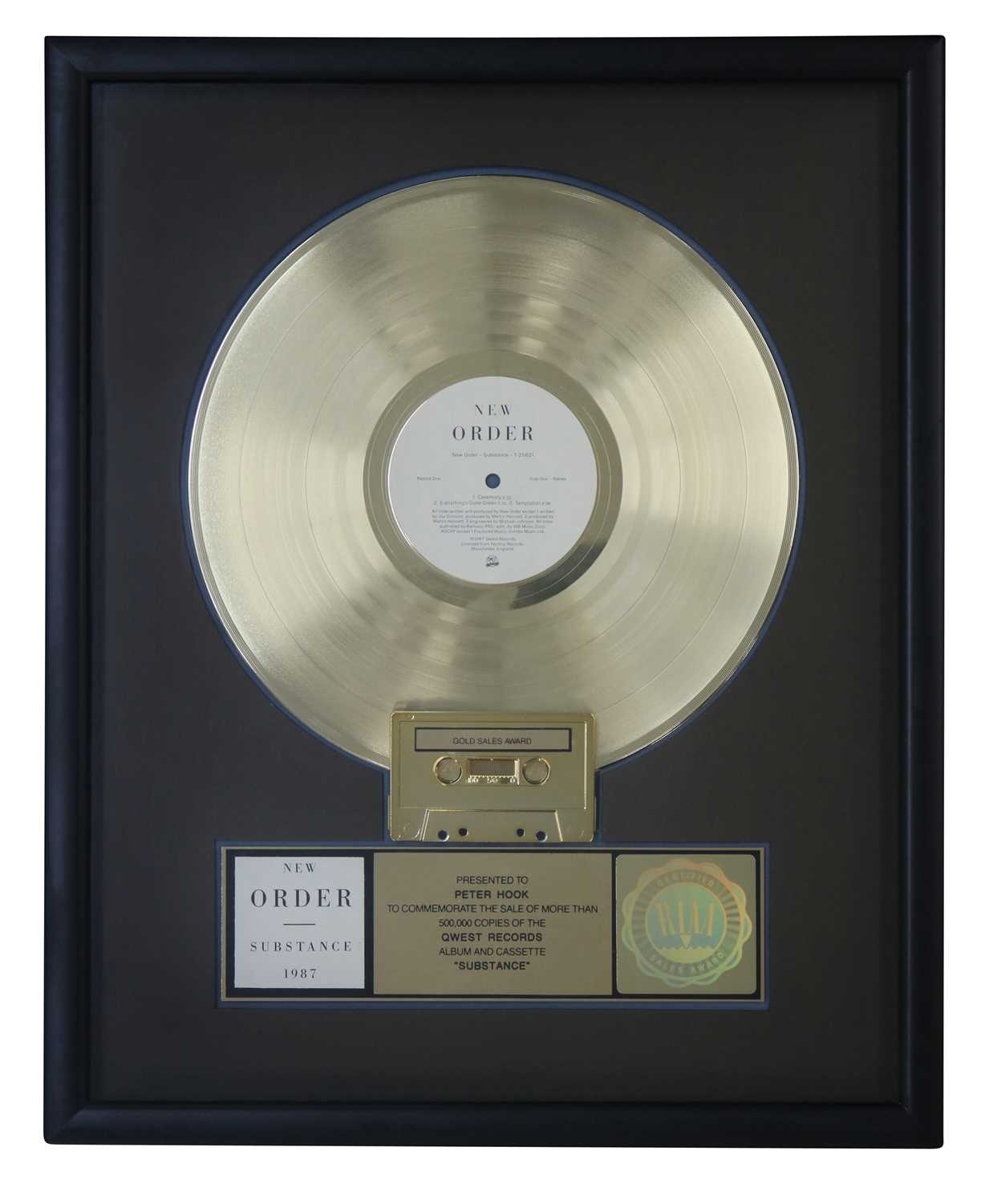 Lot 39 - NEW ORDER RIAA GOLD AWARD FOR SUBSTANCE