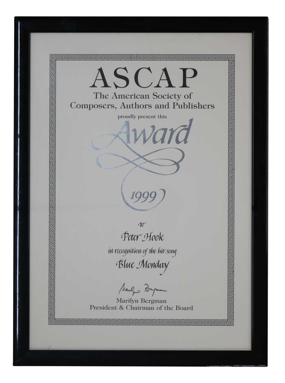 Lot 43 - NEW ORDER ASCAP FRAMED CERTIFICATE/AWARD