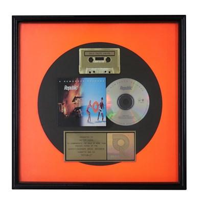Lot 49 - NEW ORDER GOLD RIAA AWARD FOR REPUBLIC