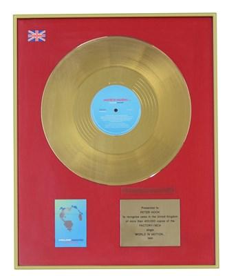 Lot 50 - NEW ORDER WORLD IN MOTION UK GOLD DISC AWARD