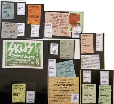Lot 104 - PUNK TICKETS - CRAMPS / SKIDS AND MORE.