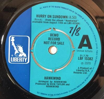 """Lot 147 - HAWKWIND - HURRY ON SUNDOWN 7"""" (ORIGINAL UK DEMO - LIBERTY LBF 15382 - WITH PROMO FLYER)"""