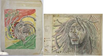 Lot 73 - BOB MARLEY RECORD MIRROR COVER ORIGINAL ARTWORK - BUSH HOLLYHEAD.