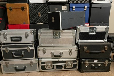 Lot 57 - METALLIC / CHROME RECORD CARRY CASES - ALL PROCEEDS TO CHARITY.