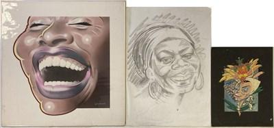 Lot 86 - BUSH HOLLYHEAD ORIGINAL ARTWORK - FEMALE STARS INC NINA SIMONE.
