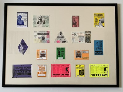Lot 106 - FRAMED TICKET AND BACKSTAGE PASS DISPLAYS.