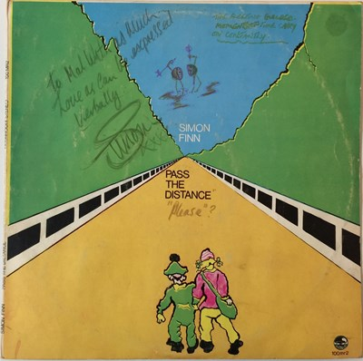 Lot 8-SIMON FINN - PASS THE DISTANCE LP (ORIGINAL UK PRESSING - MUSHROOM - 100 MR 2 - SIGNED AND ANNOTATED BY THE ARTIST)