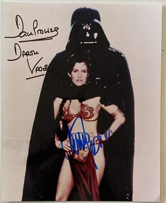 Lot 69 - STAR WARS - DAVE PROWSE AND CARRIE FISHER SIGNED PHOTO.
