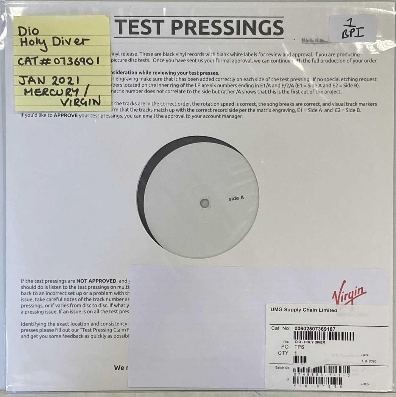 Lot 1 - DIO - HOLY DIVER LP (MERCURY/VIRGIN 2021 TEST PRESSING - 0736901)