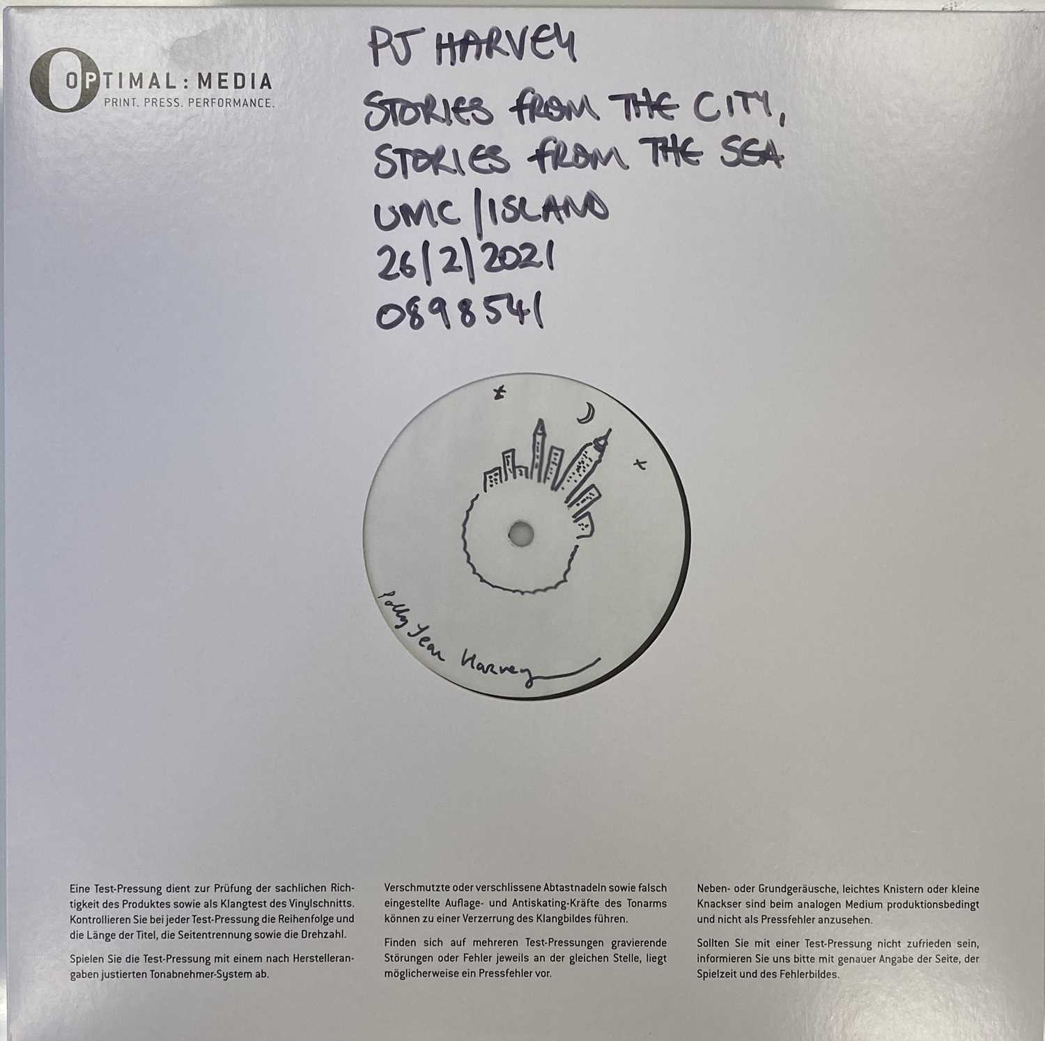 Lot 16 - PJ HARVEY - STORIES FROM THE CITY, STORIES FROM THE SEA LP (SIGNED & ILLUSTRATED WHITE LABEL TEST PRESSING - 2021 RELEASE)