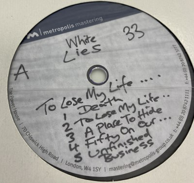 """Lot 30 - WHITE LIES - TO LOSE MY LIFE & DEATH - LP/12"""" ACETATE RECORDINGS"""