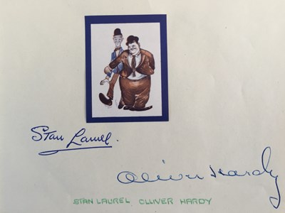 Lot 81 - STAN LAUREL AND OLIVER HARDY - SIGNED PAGE.