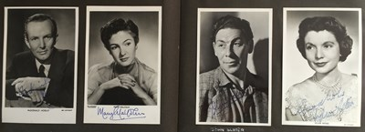 Lot 100 - ALBUM WITH AUTOGRAPHED PHOTOS/POSTCARDS AND PRIVATE PHOTOGRAPHS - 1950S STARS.