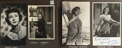 Lot 101 - ALBUM WITH AUTOGRAPHED PHOTOGRAPHS AND UNSEEN PRIVATE PHOTOGRAPHS OF 1950S STARS.