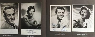 Lot 102 - ALBUM WITH AUTOGRAPHED PHOTOS / POSTCARDS  - TONY BENNETT / JIMMY PERRY ETC.