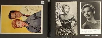 Lot 106 - ALBUM WITH AUTOGRAPHED PHOTOGRAPHS/POSTCARDS - SOPHIA LOREN / PEGGY CUMMINS ETC.