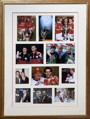 Lot 183 - MANCHESTER UNITED MEMORABILIA - FRAMED AND SIGNED ITEMS.